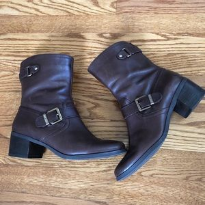 Anne Klein Brown Leather Buckle Zip Up Ankle Boots